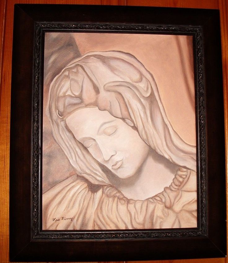 Our Mother Mary Catholic Christian Oil Monochrome Sepia Painting Kris Pinney  #OutsiderArt