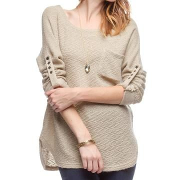 3/4 Sleeve Knit Top w/ Cuff & Back Button Detail