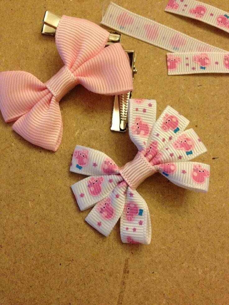 Pepper Pig hair bows for girls. #handmade #hairbow #pepperpig #pink #girls…