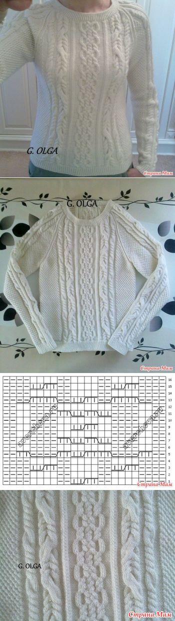 Зимний свитер с аранами - Вязание - Страна Мам