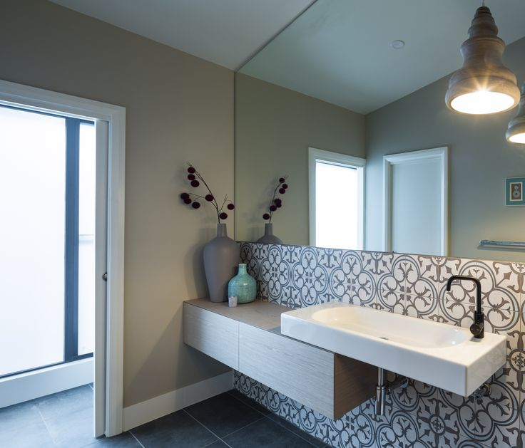 Residential renovation in Wayville, South Australia.  Great example of our skills in: architecture, interior design, contemporary design, renovation, custom joinery, floor plans, en-suite design, vanity, bathroom fixtures, tap ware and hand painted feature tiling.
