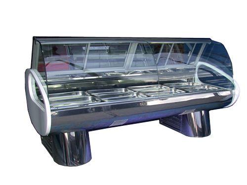 gondola con vitrinas -Esta es una gondola diferente  , pero sirve paa lo mismo ya que expone un producto y la gente decide mediante de la vista que seleccionar.