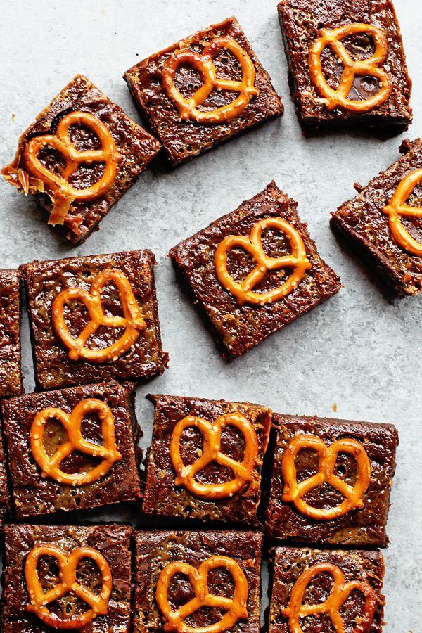 Caramel Pretzel Brownies Recipe | Grandbaby Cakes