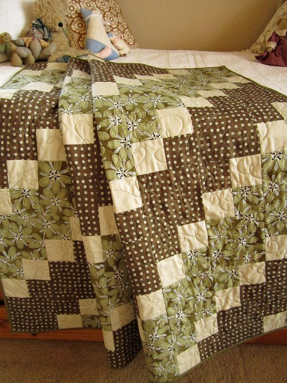 Patchwork Quilt Brown and Green Diagonal by PatchworkMountain, $178.00