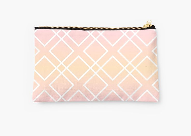 """Pretty pouch """"Sunrise"""" designed by Luna Princino is available on Redbubble! #lunaprincino #accessories #pouch #beauty #sunrise #pattern #geometric #fashion #geometry #stylish #beautiful #pink #gradient #print #prints #graphic #design #diamond #diagonal #lines #tender #pretty #morning #colors #gift #idea #beautician #girlish #cosmetics"""