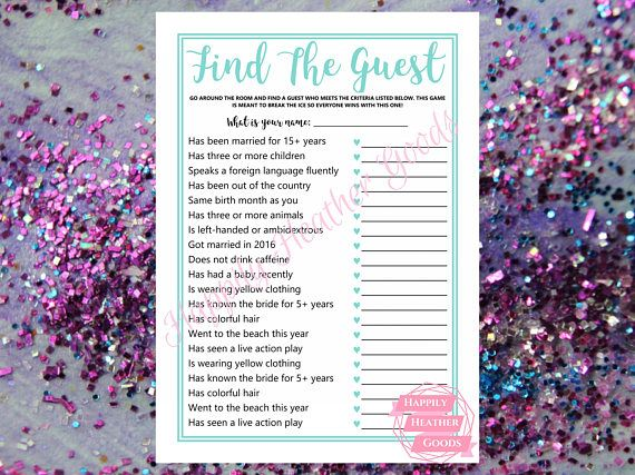 TITLE: find the guest DESCRIPTION: printable game for a bridal shower in robin egg blue with a cursive font; one game per page; this template is also perfect for teal bridal shower games and turquoise bridal shower games  Your download will contain the following: >> 5x7 (JPG) -
