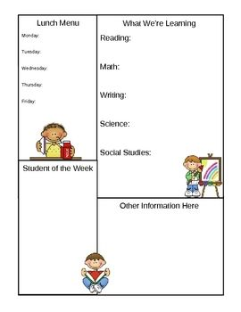 Classroom newsletter template, page 2.