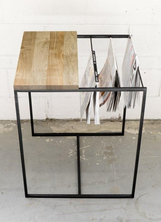 Elegant Side Table With Built In Magazine Rack