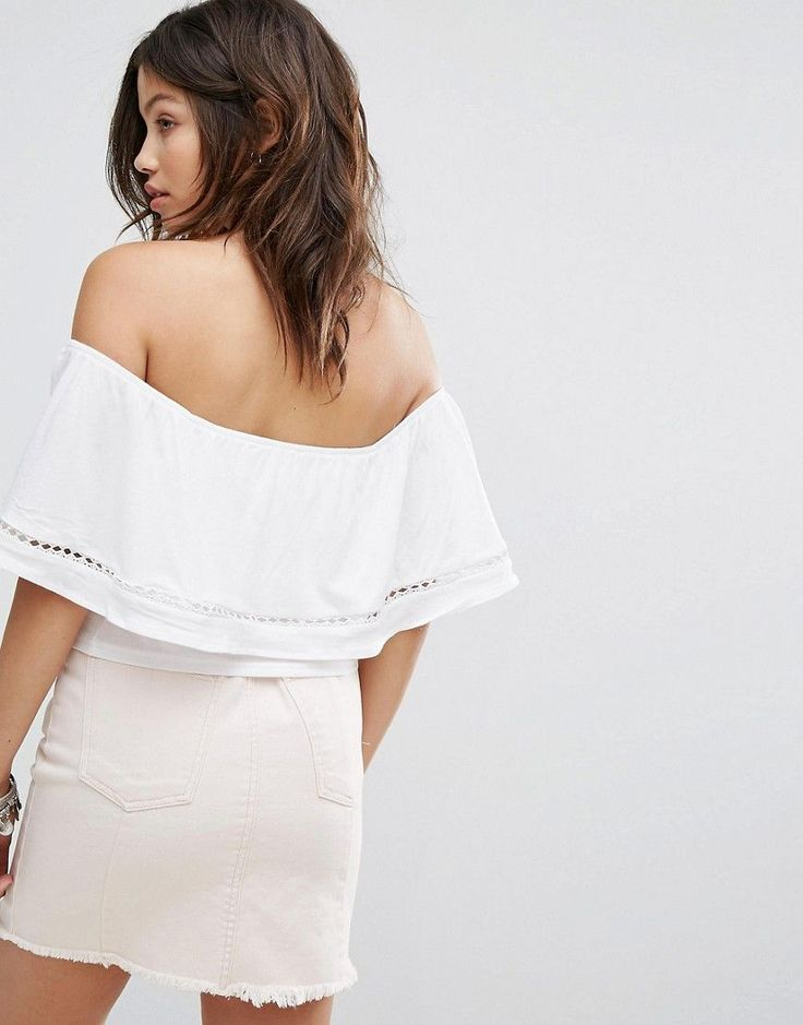 New Look Lace Insert Bardot Top - White