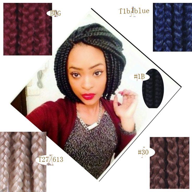 3X Crochet Bob Box Braids Hair Burgundy,T27/613,White+Grey 18 Inch Crochet Braids Hair Jumbo Braid Senegalese Twist Hair Curly