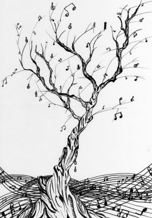 music note tree @Jenn L Galliers.....this looks very similar to a program we designed in HS for a concert.....who knew we were so artistic then!