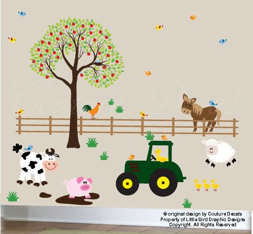 This adorable farm decal set listing comes with 1 tree with Apples, 1 fence, 1 Tractor, 1 Horse, 1 Cow, 1 Lamb, 1 Pig in Mud, 1 Rooster, 1 Birds