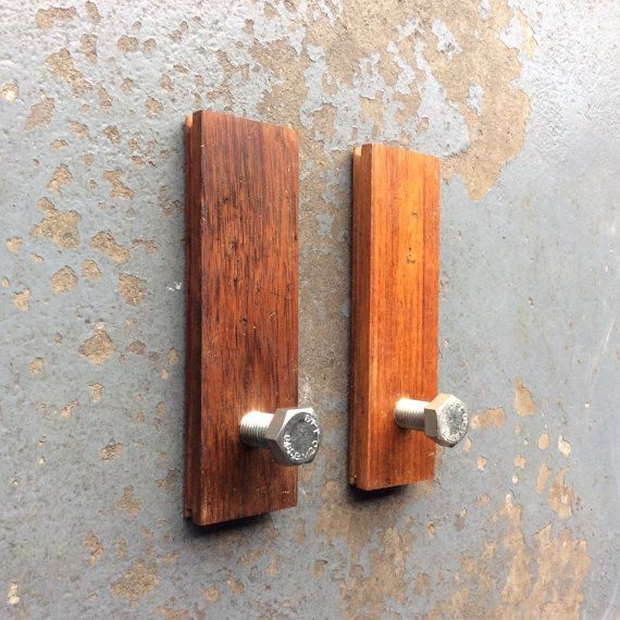 Two Coat hooks  made from steel bolts and parquet by DerekMcqueen