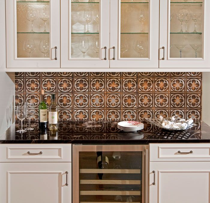 Tin Backsplash   A Stunning Tin Tile Backsplash In Pattern Silver Burnt  Umber.