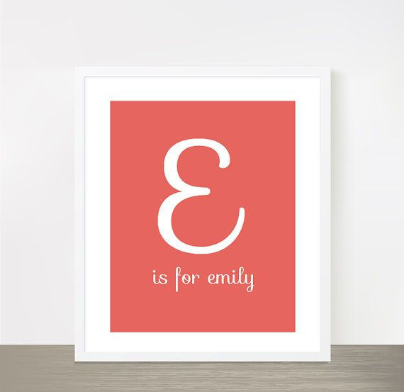 "Letter E for Emily - coral peach baby girl name - nursery print - typography poster - nursery art - monogram print - 8x10"" on Etsy, $16.00"
