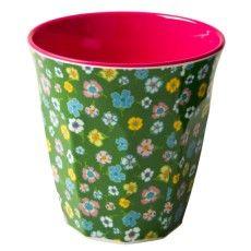 Kubek z Melaminy (zielony w kwiatki) RICE