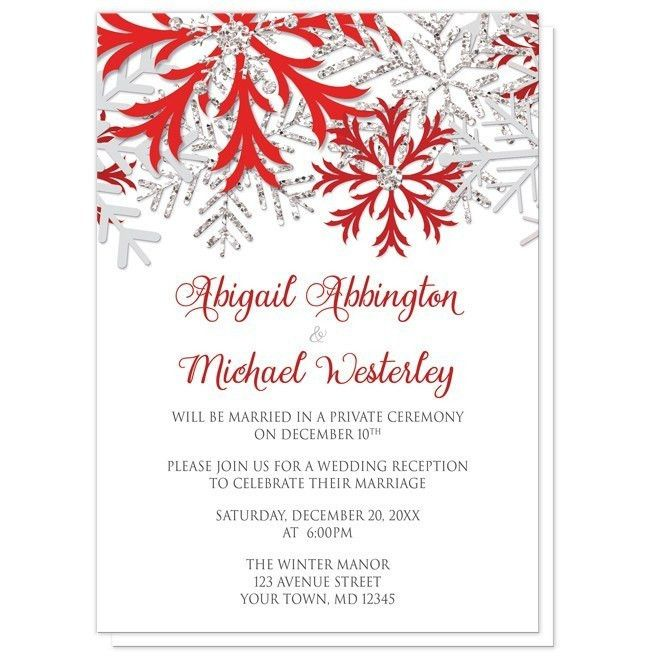 If you were celebrating something these next 12 months, would the design on these Winter Snowflake Red Silver Reception Only Invitations inspire you? Let me know in the comments.   Winter Wedding Reception Only Invitations and optional matching RSVP reply cards, designed with red, light gray, and silver glitter-illustrated snowflakes over white. This red and silver snowflake design is perfect for your Wintertime and Holiday post-wedding reception celebrations. These invitations are used when…
