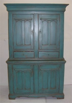 Blue Stepback 19Th Century Cupboard