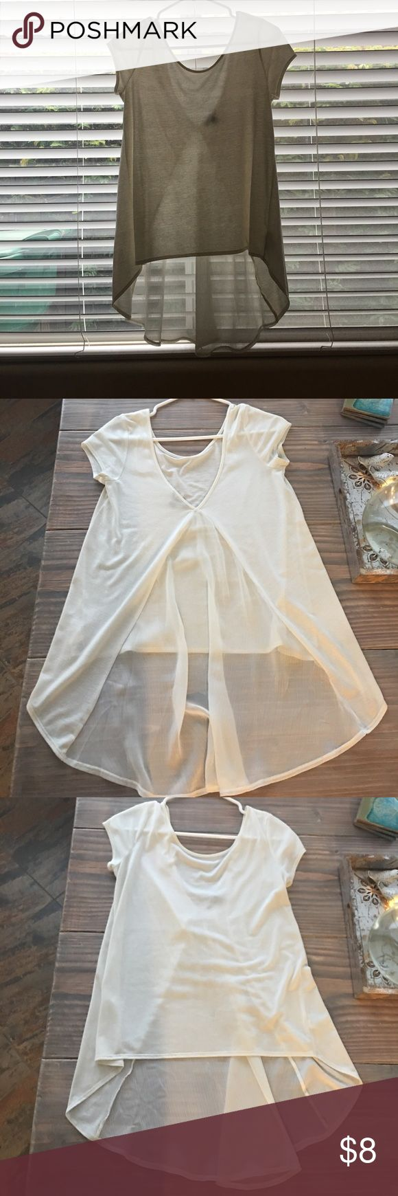 American Eagle Long sheet back top Cream top, cotton front and sheet back long panel in back. Great for leggings American Eagle Outfitters Tops Blouses