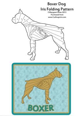 Boxer Dog Iris Folding Pattern on Craftsuprint designed by Margaret Jones - Make a card to send to the owner of this majestic dog - the Boxer. Easy pattern. Card suggestion shown.**If you have a Silhouette, Cameo or Portrait cutting machine, this pattern is offered along with the matching cutting file at cup402586_601, you won't have to cut out the template by hand** - Now available for download!