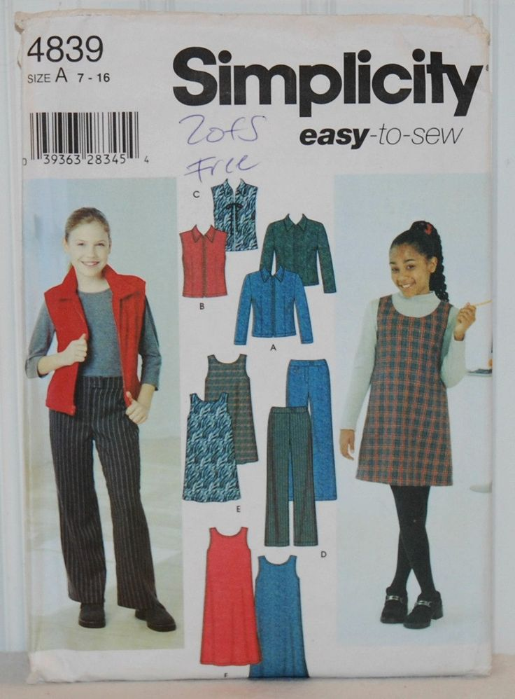 Simplicity 4839 Easy-To-Sew (c.2000)Girls' Sizes 7-16, Sewing Pattern Girls' Jacket, Vest, Pants and Jumper, Versatile, School, Casual by TooHipChicks on Etsy
