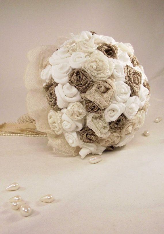 Wedding Bouquet / Bridal Bouquet with roses burlap by LakaLuka