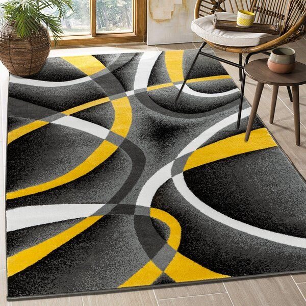 Taylorville Abstract Gray Yellow Area Rug In 2021 Yellow Decor Living Room Yellow Grey Rug Yellow Bedroom Decor