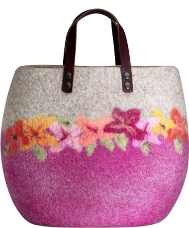 Grey and Pink felted wool bag with needle felted flowers and leather handle from Kollektion 100%  by Kersten Schuermann at  Werkstück.net