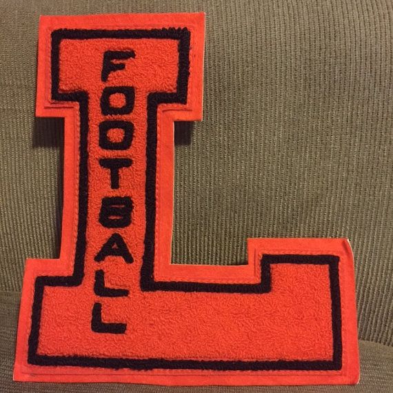 "Football Letter ""L"" - Black & Orange - Lamar High School, Arkansas (1970s) from Baudelaire Antiques"