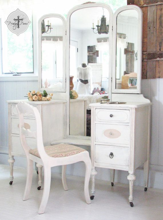 RESERVED ~ Antique Shabby Chic Dressing Table Vanity With Trifold Mirror U0026  Matching Upholstered Chair ~ Rose Carvings