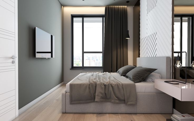 Framed by black curtains and window framing, the bedroom presents relaxation within fixed borders. Protolok green-grey affixes to walls, complemented by bedding shades. A hero plaster wall creates textures amidst twin floor-to-ceiling mirrors, which extend and elongate the space.