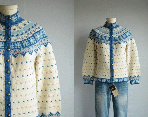 Vintage Norwegian Cardigan / 60s Hand Knit Wool by zestvintage