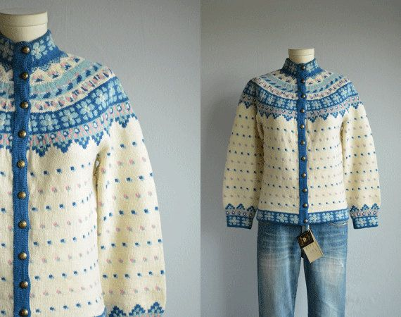Vintage Norwegian Cardigan / 60s Hand Knit Wool by zestvintage
