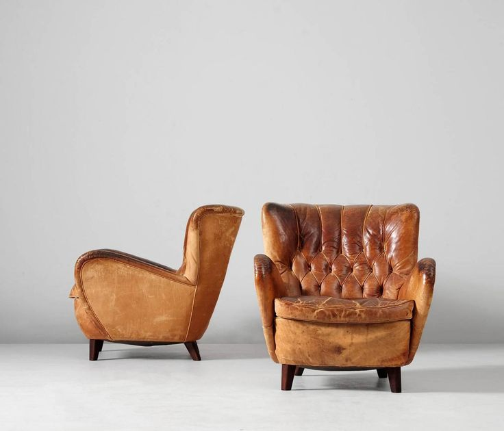Lounge Chairs In Original Cognac Leather Upholstery, 1930s