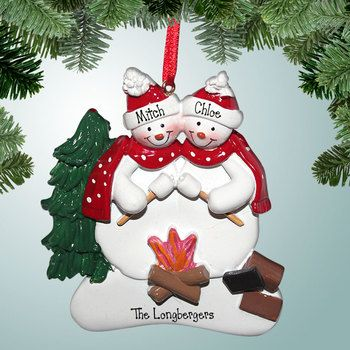 It's no secret that the best part of camping is sitting around the fire and roasting marshmallows for some delicious S'mores! However, I think someone needs to remind this snowman couple that getting too close to the fire might be slightly dangerous to their overall appearance! This personalized Christmas ornament is perfect for all you camping families!