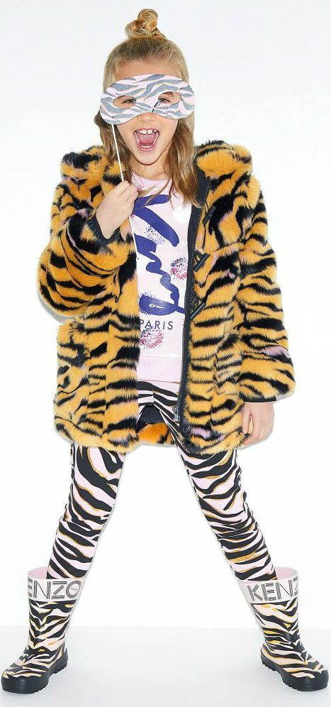SALE !!! Kenzo Kids Tiger Stripe Look is this Mini Me Tiger Striped Faux Fur Coat. Inspired by the Kenzo Women's Collection Designed in Paris, France. Now on Sale.  #kidsfashion #fashionkids #girlsdresses #childrensclothing #girlsclothes #girlsclothing #girlsfashion #minime #mommyandme