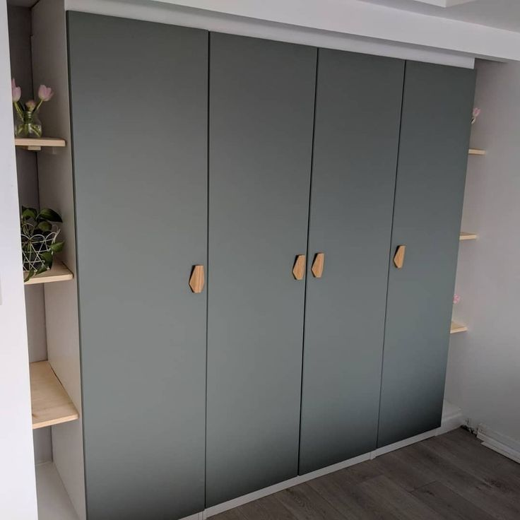Built In Pax Wardrobe Reinsvoll Grey Green Door Bamboo Nobs Track Lighting Alice Pinset Pax Kleiderschrank Kleiderschrank Ikea Kleiderschrank Aufbewahrung