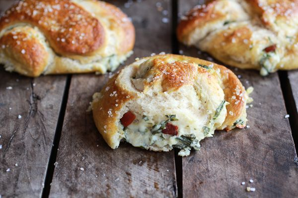 Spinach, Artichoke   Bacon Stuffed Beer Soft Pretzels | halfbakedharvest.com