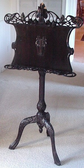 ART NOUVEAU CARVED MAHOGANY MUSIC STAND