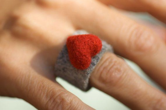 Felted Heart Ring by Antjes on Etsy, $25.00