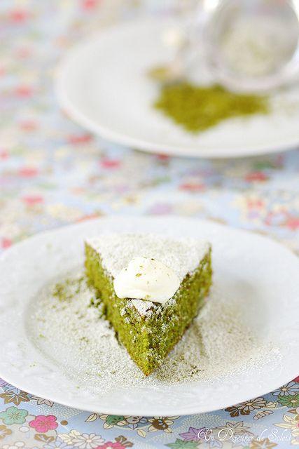 Cake pain de Gênes au thé matcha