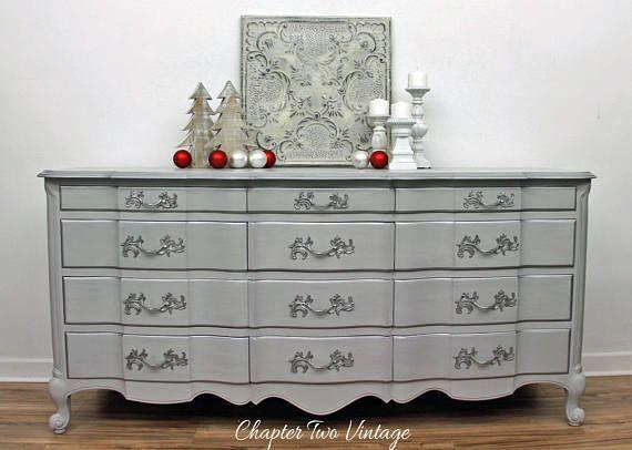 Vintage French Provincial Dresser, Hand Painted Dresser, Solid Wood Dresser