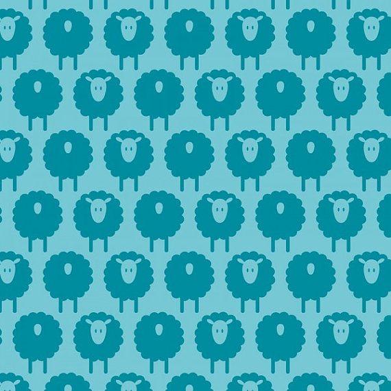 Organic Cotton Knit Jersey  SHEEP s turkis  von PushingDaisy2012, $22,99