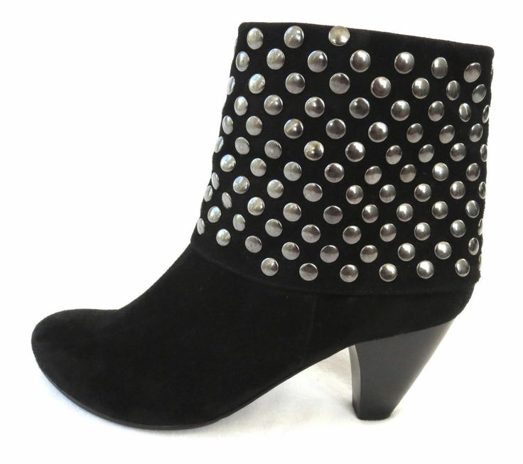 Women's VAN ELi Black Suede Studded Ankle Boots Booties Size 8 #VanEli #FashionAnkle
