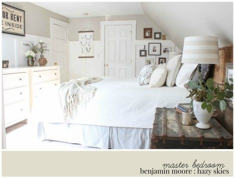 A Neutral Farmhouse Bedroom Painted Benjamin Moore Hazy Skies Rooms For Rent Blog Eclectic