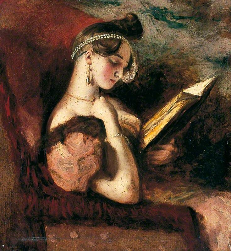 A Girl Reading (c.1842). William Etty (English, 1787‑1849). Oil on millboard. York Museums Trust.