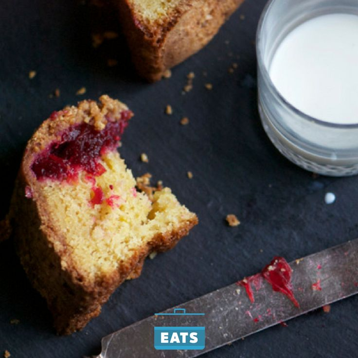 A standard sour cream coffeecake, dense and rich, is crusted with a cookie-like covering of almonds, and scented with orange zest. In the middle, dollops of rescued cranberry sauce.