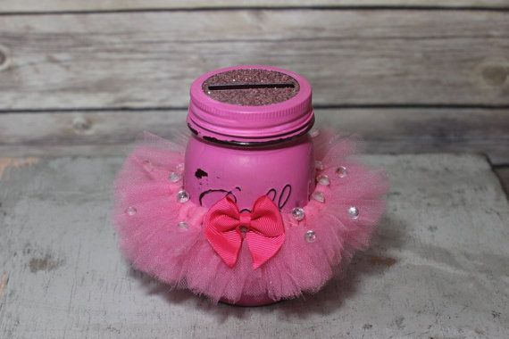 Princess Savings Bank - Pink Tutu, Rhinestones, and Glitter. Perfect Home Decor Piece for your little Princess Ready to Ship