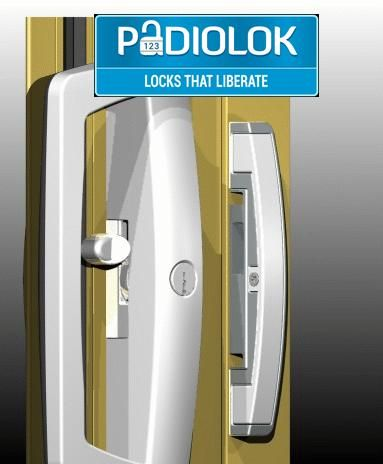 Patio Sliding Door:Simply Remove The Existing Handle And Install PaDIOLOK  Through The Existing Holes