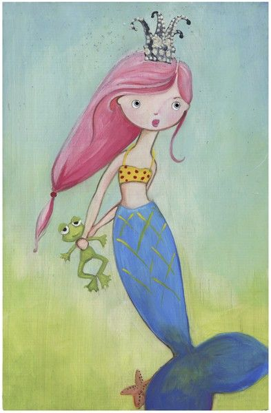 Frog Collecting Mermaid Girl Art Print. $13.00, via Etsy.